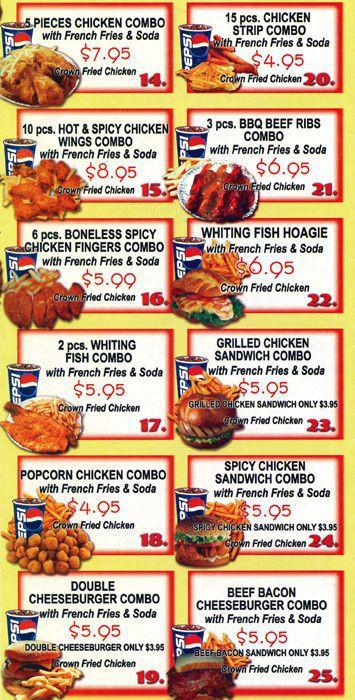 Gus'S Fried Chicken Menu  Crown Fried Chicken Menu Menu for Crown Fried Chicken