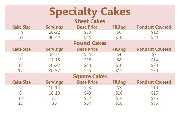 Half Sheet Cake Size  8 Cake Pricing Sheet For Cakes Fondant Cake Prices