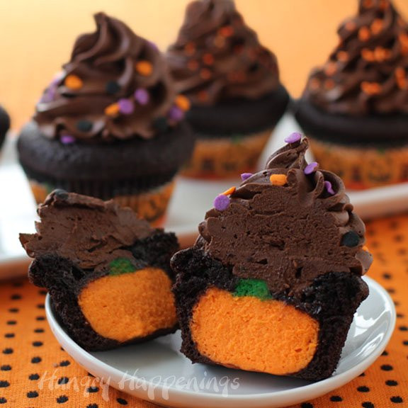 Halloween Cake Recipe  Ultimate Cheesecake Stuffed Halloween Cupcakes Hungry