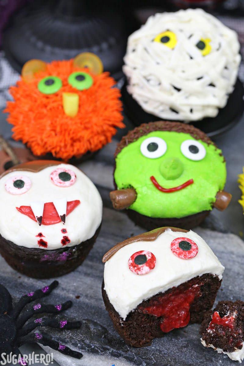 Halloween Cupcakes Designs  Stuffed Halloween Cupcakes SugarHero