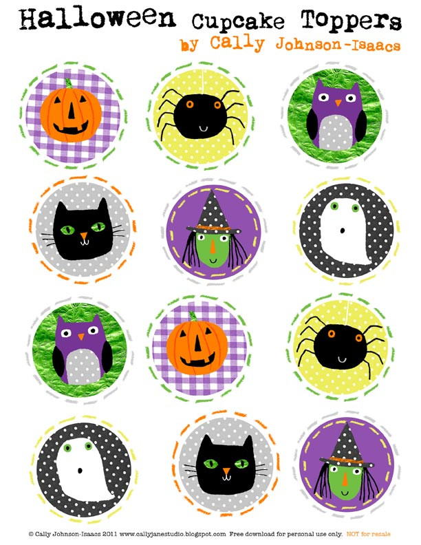 Halloween Cupcakes Toppers  Halloween Cupcake Topper e Happy Mama