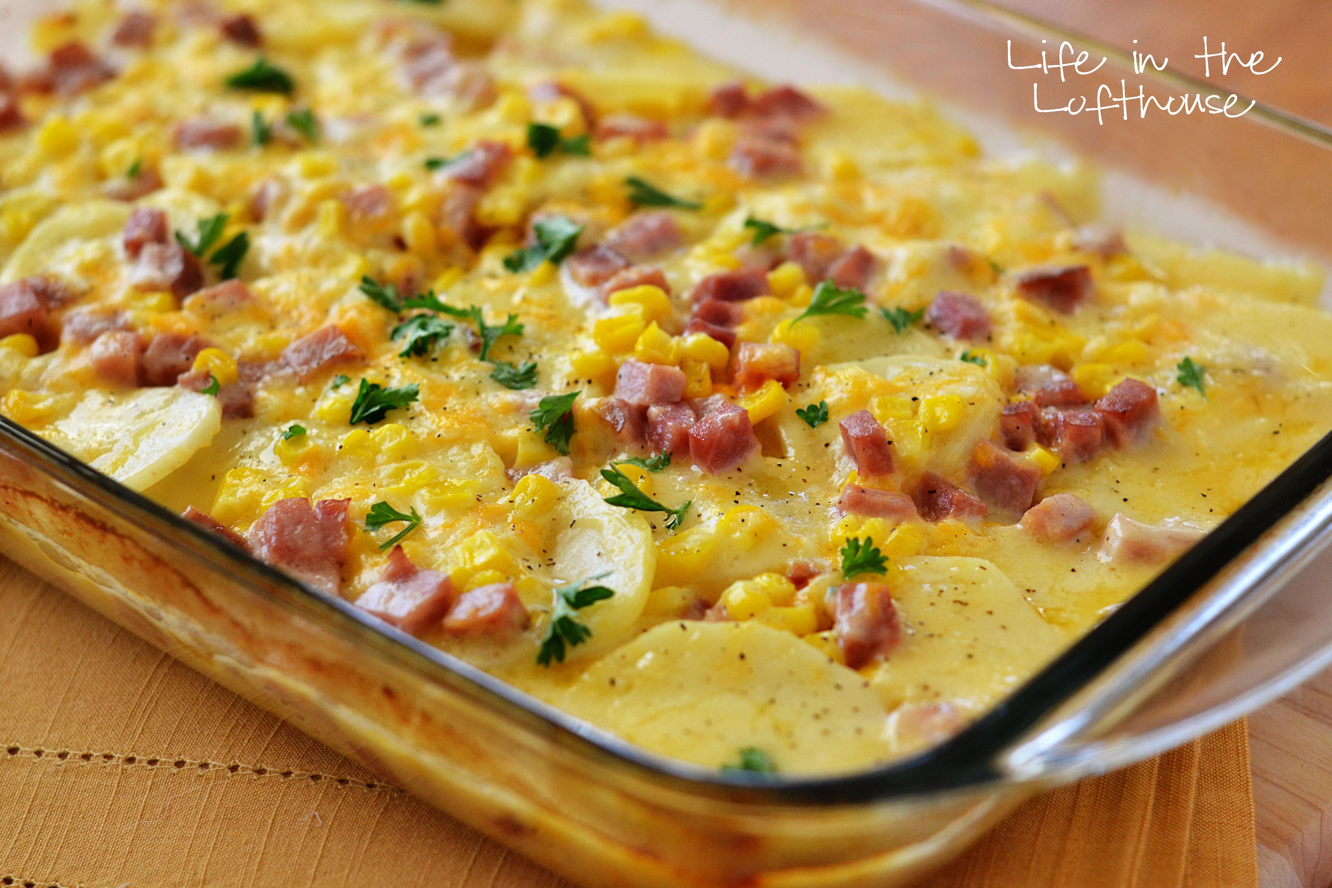 Ham And Potato Recipes  Scalloped Potatoes Ham and Corn Bake
