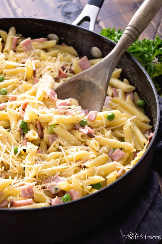 Ham Dinner Ideas  e Pot Ham & Penne Skillet Recipe Julie s Eats & Treats