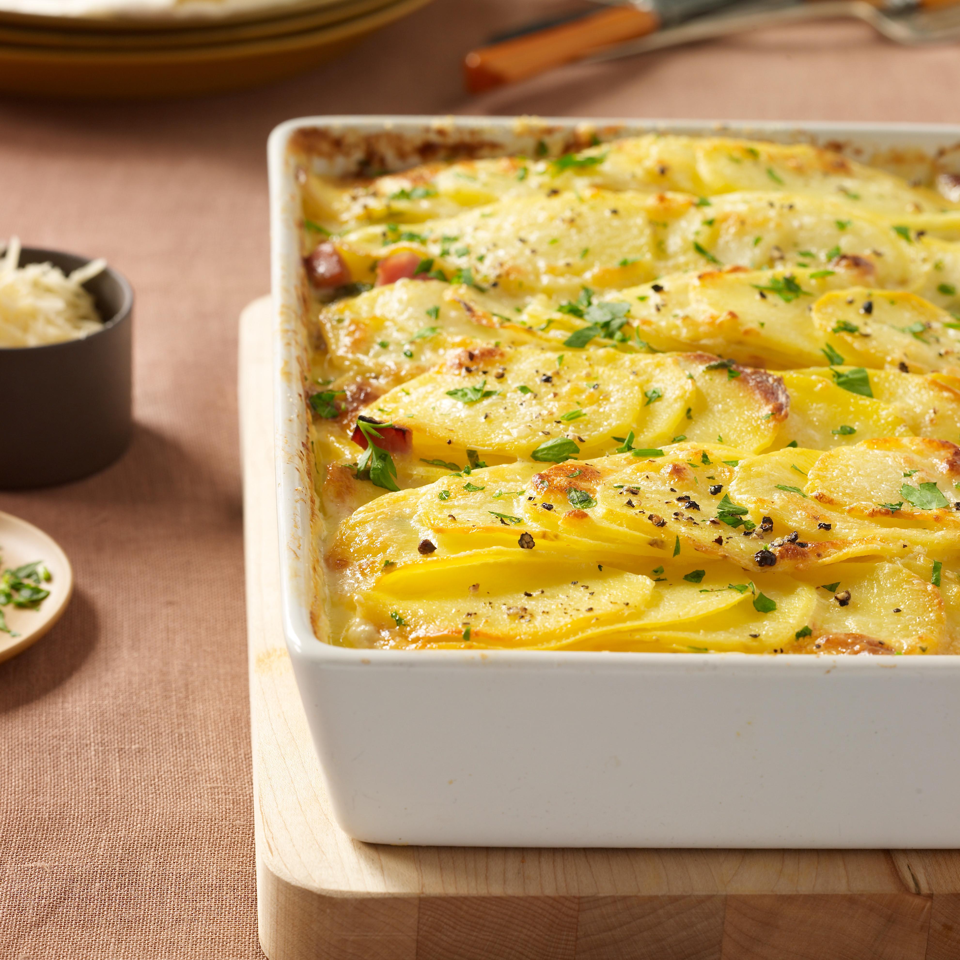 Ham Dinner Sides  Scalloped Potatoes with Ham Recipe Justin Chapple