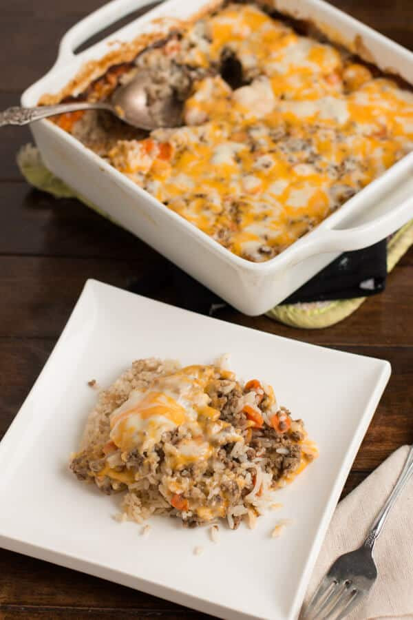 Hamburger Rice Casserole  Cheesy Ground Beef and Rice Casserole Oh Sweet Basil