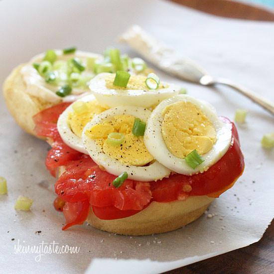 Hard Boiled Eggs Breakfast  Egg Tomato and Scallion Sandwich