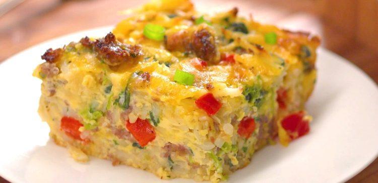 Hashbrown Breakfast Casserole Recipe  Sausage Egg & Cheese Hash Brown Casserole Recipe