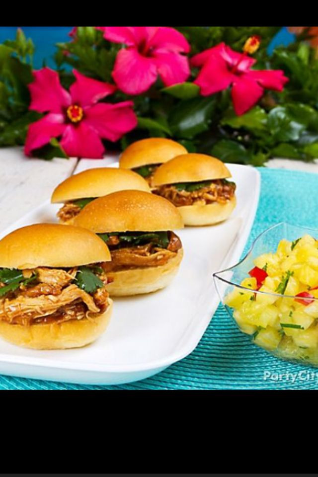 Hawaiian Main Dishes  Chicken burgers and pineapple salsa for a luau snack or