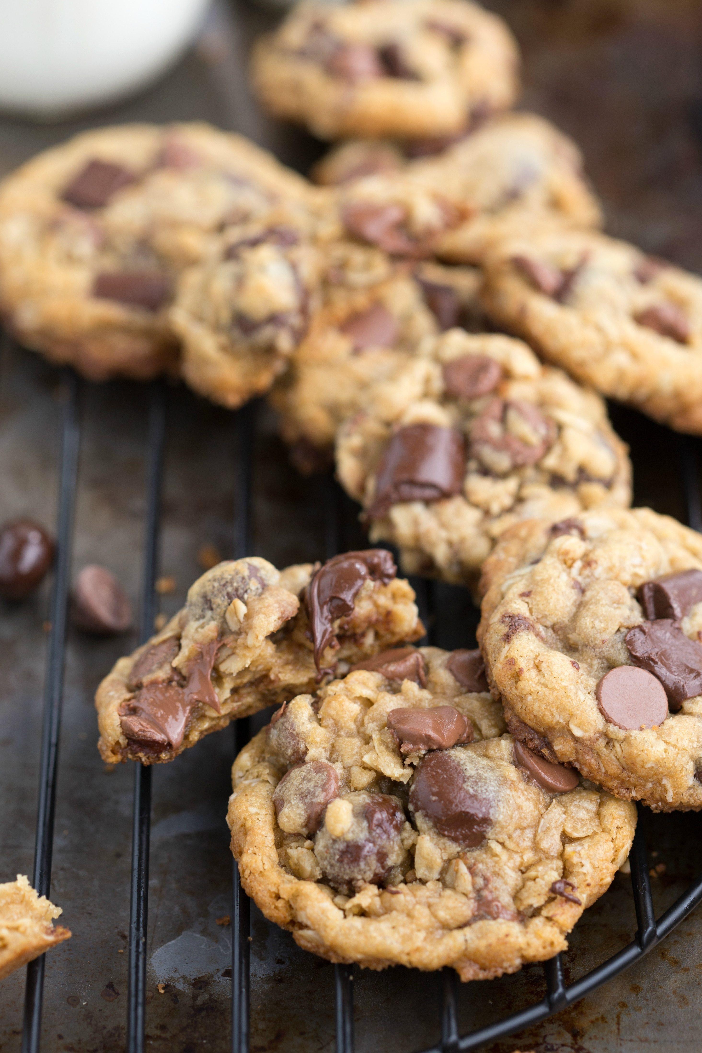 Healthier Chocolate Chip Cookies  Healthier Oatmeal Chocolate Chip Cookies with Dark
