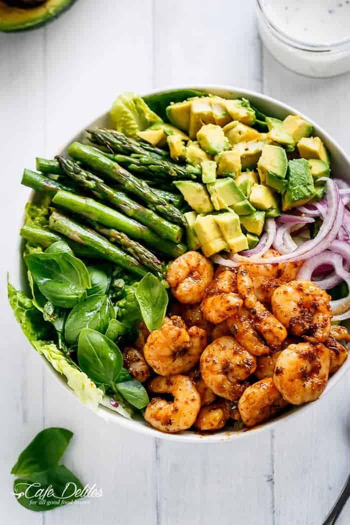 Healthy Avocado Recipes  Blackened Shrimp Asparagus and Avocado Salad Cafe Delites