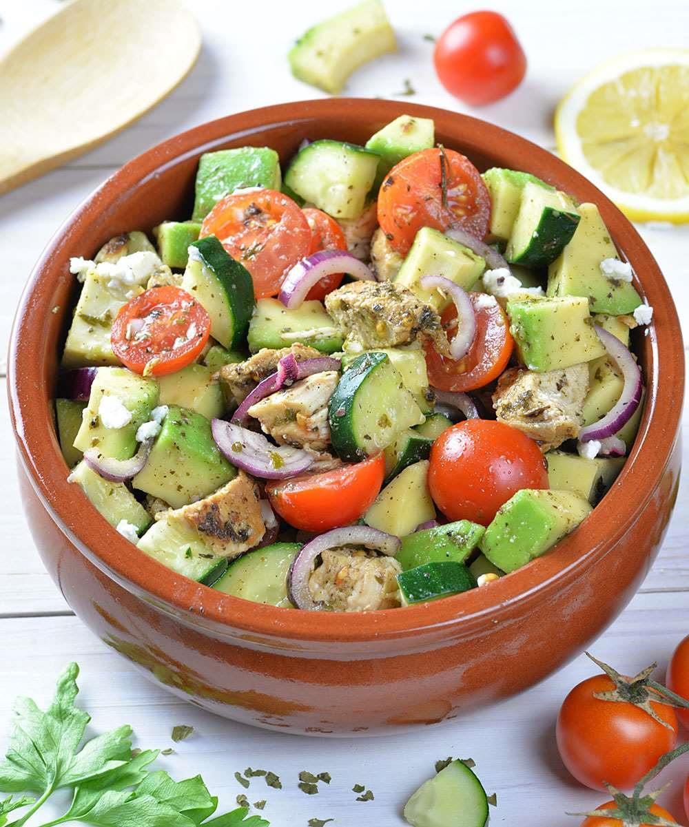 Healthy Avocado Recipes  Healthy Chicken Cucumber Tomato and Avocado Salad OMG