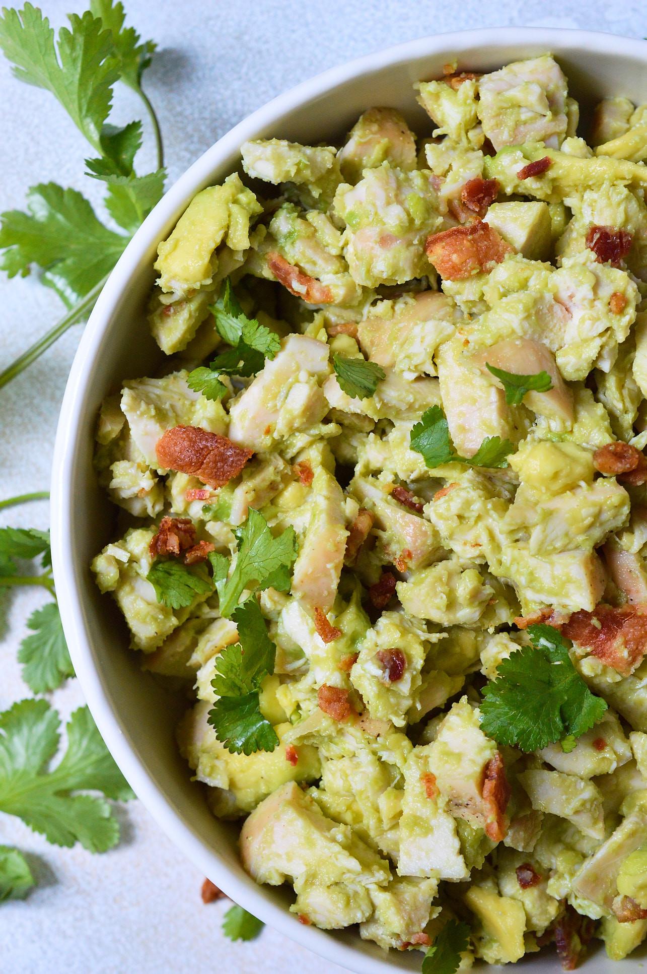 Healthy Avocado Recipes  Bacon Avocado Chicken Salad Whole30 Recipe WonkyWonderful