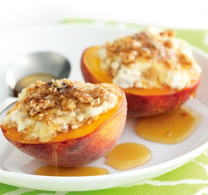 Healthy Baked Snacks  Baked Peaches with Ricotta