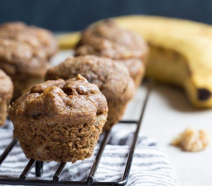 Healthy Banana Bread Muffins  Healthy Banana Bread Muffins with Walnuts