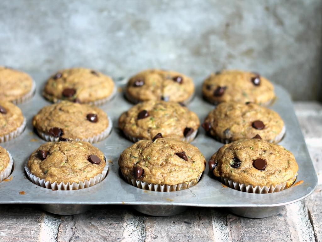 Healthy Banana Chocolate Chip Muffins  Skinny Zucchini Banana Chocolate Chip Muffins