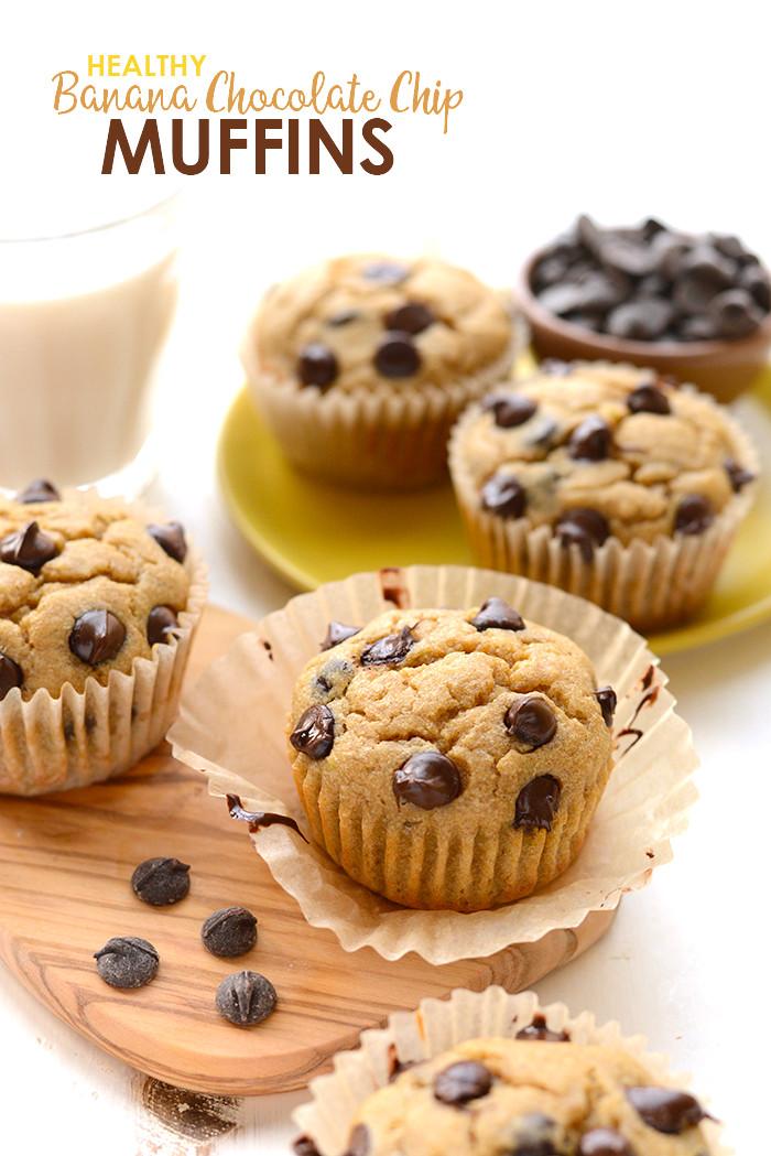 Healthy Banana Chocolate Chip Muffins  Healthy Banana Chocolate Chip Muffins Fit Foo Finds