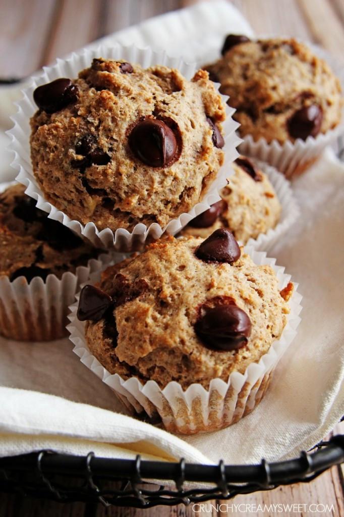 Healthy Banana Chocolate Chip Muffins  Healthy Banana Chocolate Chip Muffins Crunchy Creamy Sweet