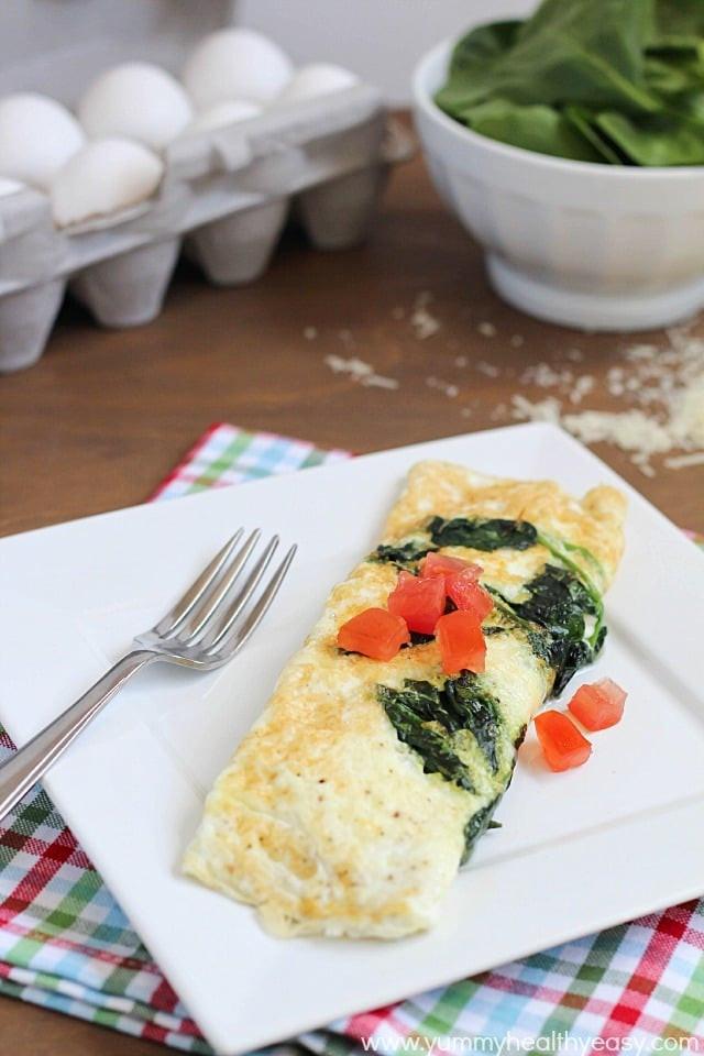 Healthy Breakfast Omelette  Easy Spinach & Egg White Omelette Yummy Healthy Easy