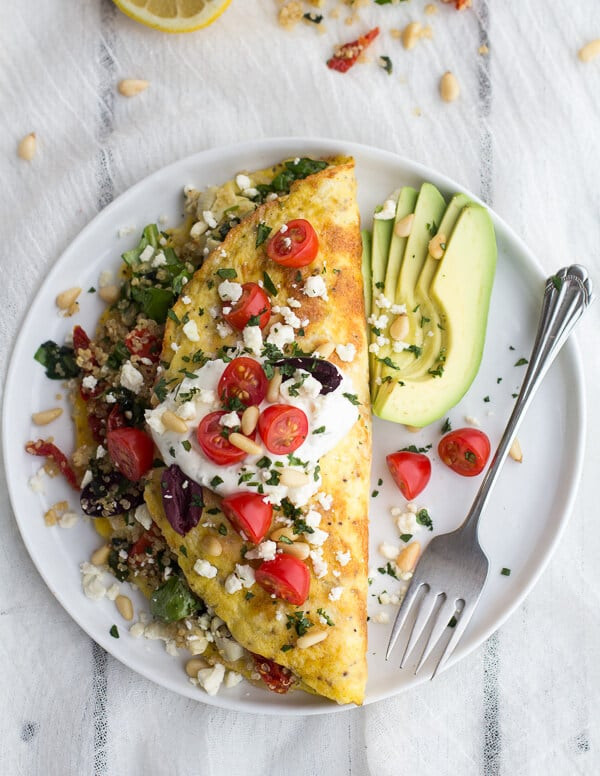 Healthy Breakfast Omelette  Simple Greek Quinoa Dinner Omelets with Feta and Tzatziki
