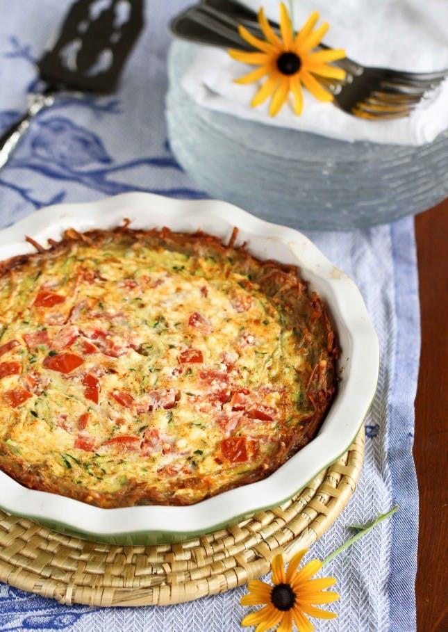 Healthy Breakfast Quiche  Potato Crusted Ve arian Quiche Recipe with Zucchini
