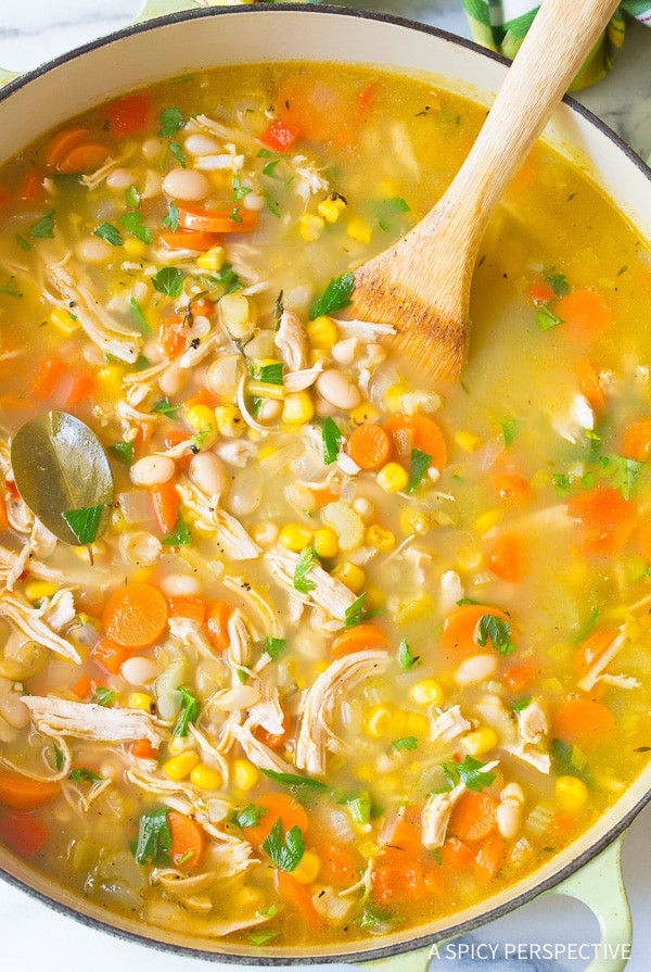 Healthy Chicken Noodle Soup  Healthy Chicken White Bean Soup A Spicy Perspective