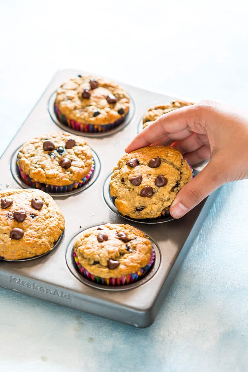 Healthy Chocolate Muffins  Healthy Oatmeal Banana Chocolate Chip Muffins