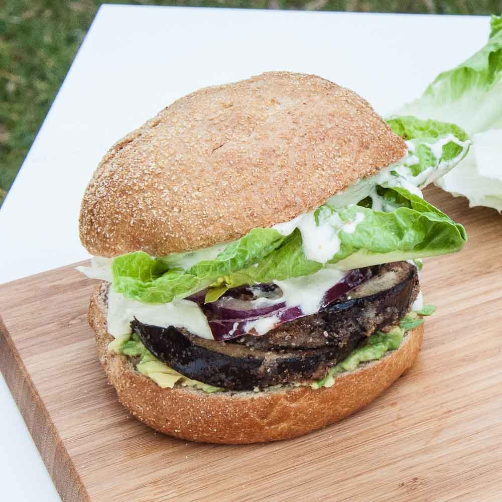 Healthy Eggplant Recipes  Healthy Eggplant Burger with Vegan Mayo Vegan Family Recipes
