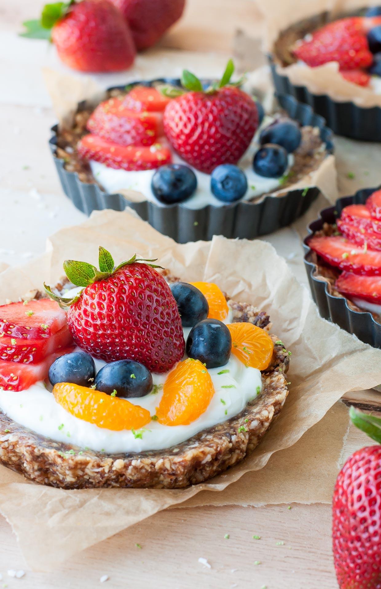 Healthy Fruit Desserts  Healthy No Bake Coconut Lime Fruit and Yogurt Tarts Peas