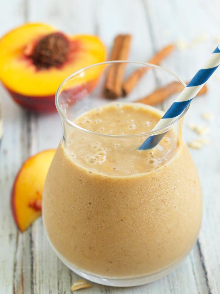 Healthy Peach Recipes  Healthy Peach Crisp Smoothie Happy Healthy Mama