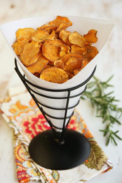 Healthy Potato Chips  Crispy Baked Sweet Potato Chips with Rosemary Garlic Salt