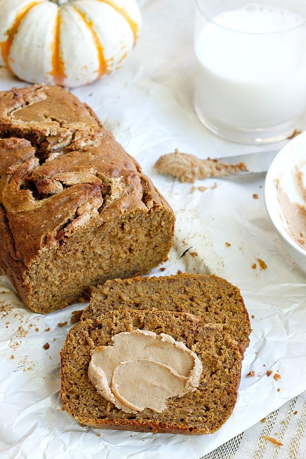 Healthy Pumpkin Bread  Healthy Pumpkin Bread with Cinnamon Cashew Butter Belle Vie