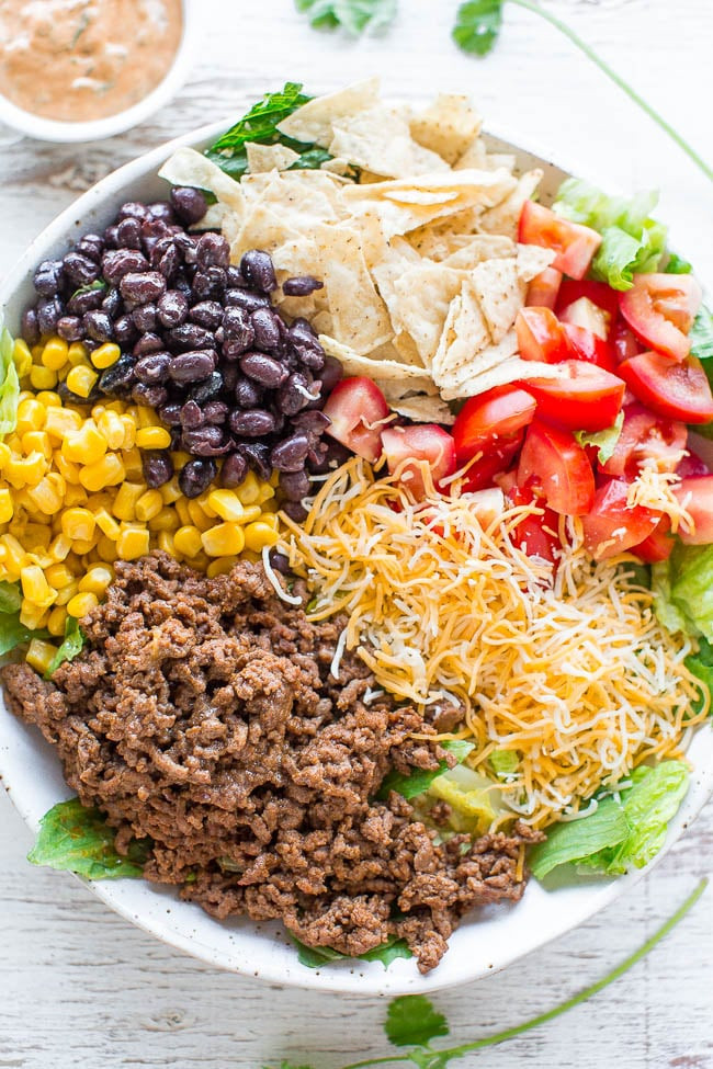 Healthy Recipes With Ground Beef  Loaded Beef Taco Salad