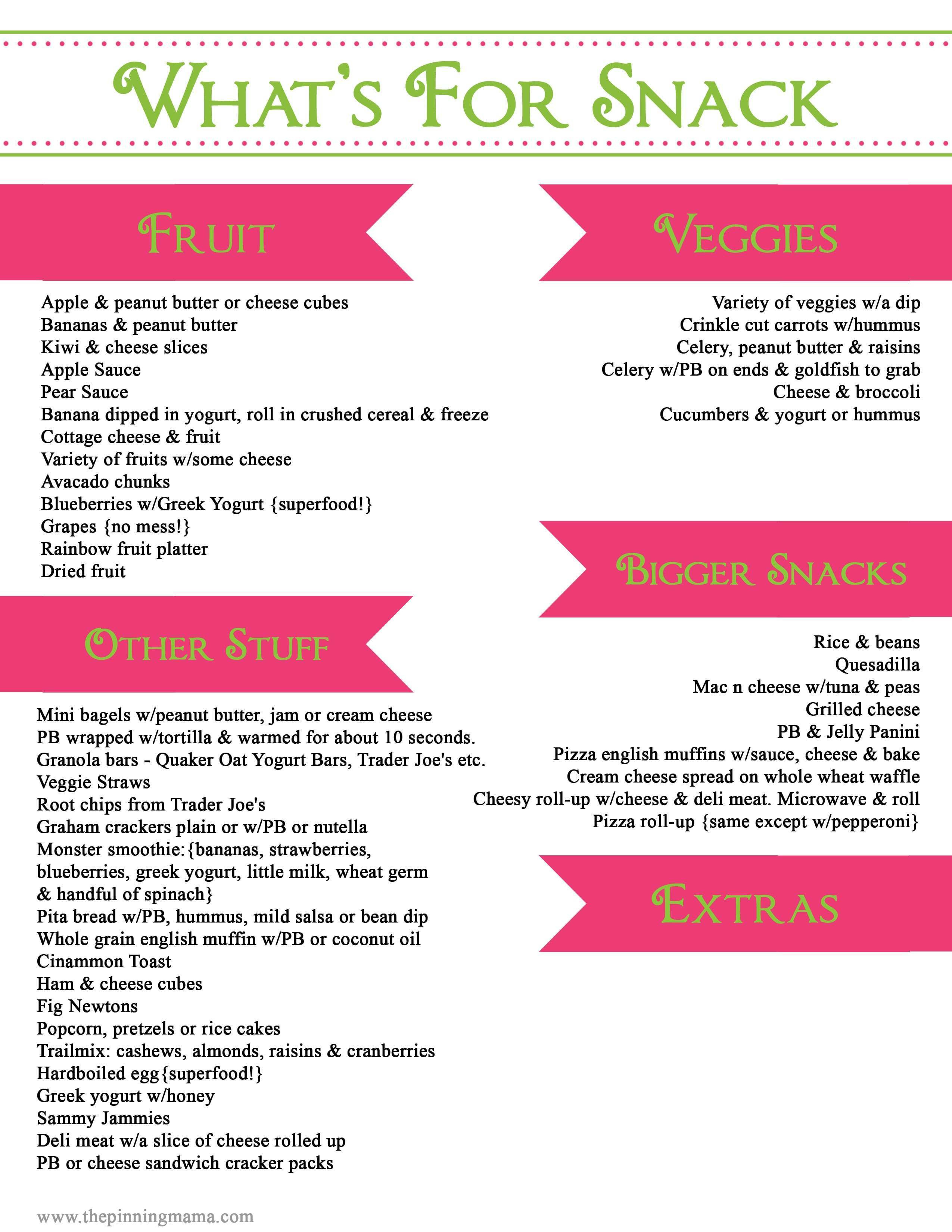 Healthy Snacks List  Easy Healthy Toddler Snacks with a Printable