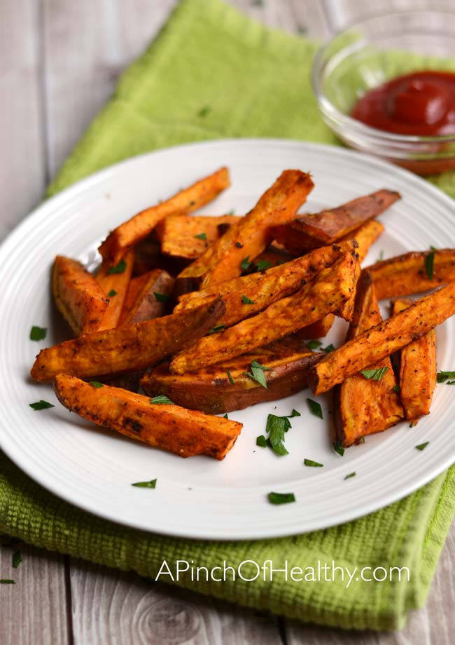 Healthy Sweet Potato Fries  Oven Baked Sweet Potato Fries A Pinch of Healthy