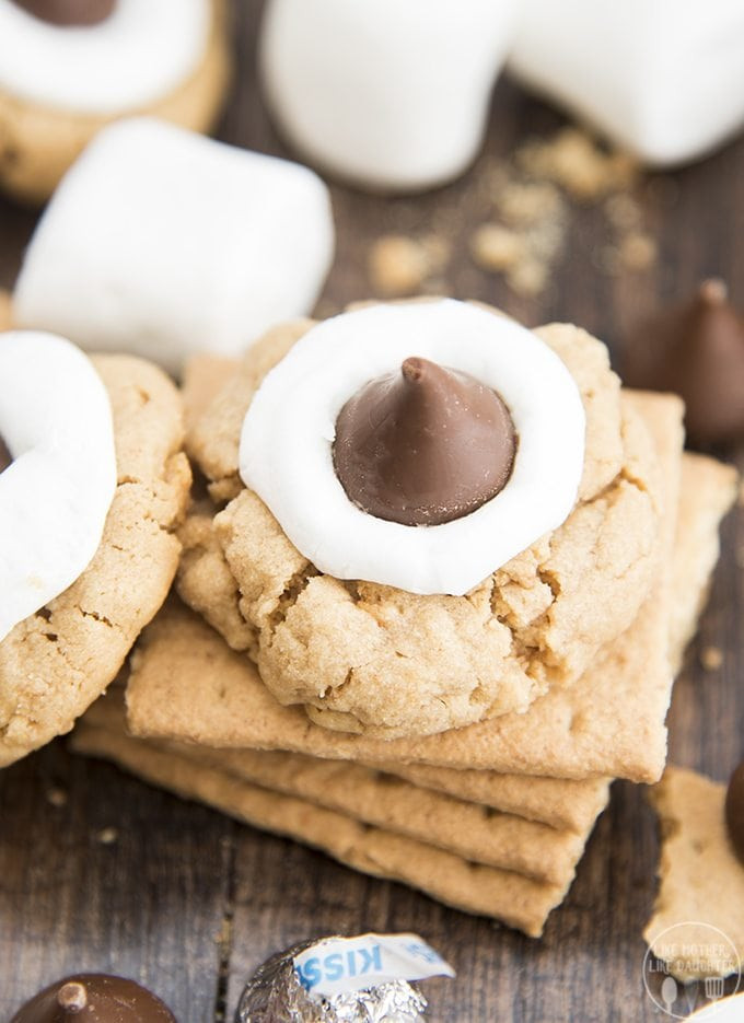 Hershey Kiss Cookies Without Peanut Butter  Hershey Kiss Peanut Butter Smores Cookies – Like Mother