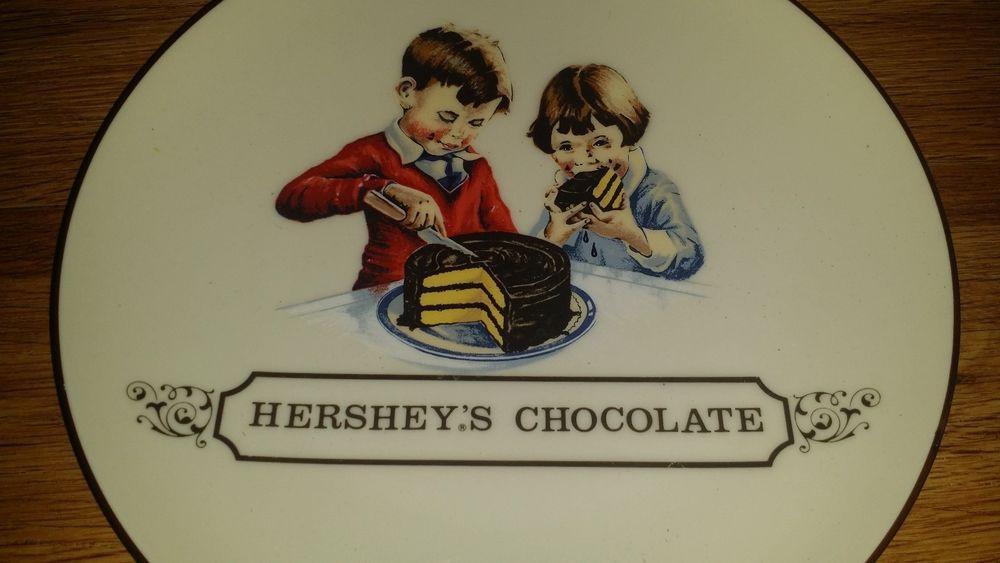 Hershey'S Chocolate Cake  VINTAGE HERSHEY S CHOCOLATE PLATE girl boy cake