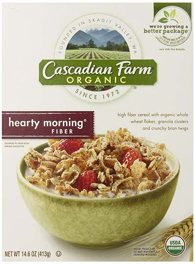 High Fibre Breakfast Cereals  Organic High Fiber Morning Cereal by Cascadian Farm Cereal