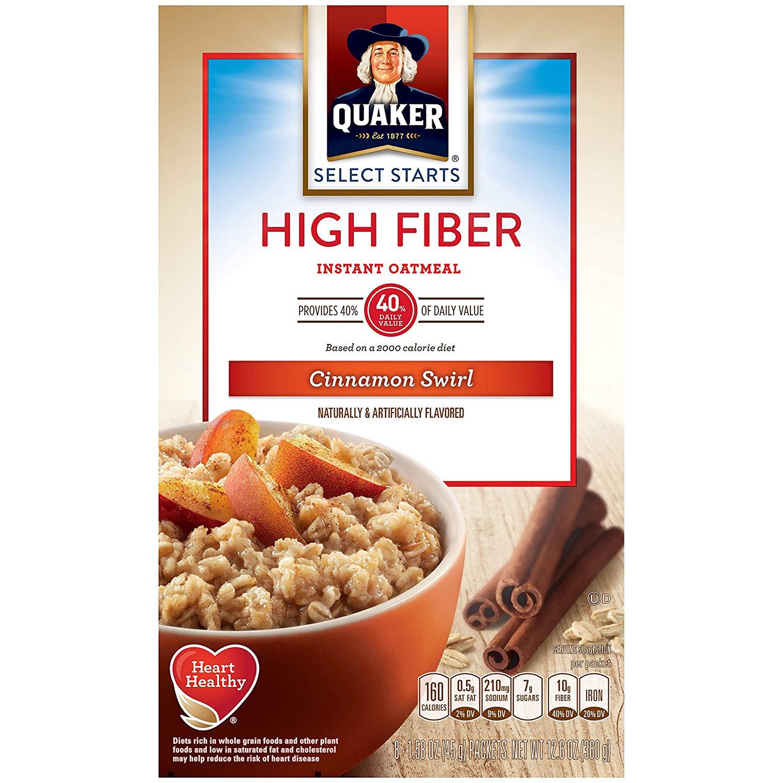 High Fibre Breakfast Cereals  Nutrition Facts Quaker Instant Oatmeal High Fiber Maple