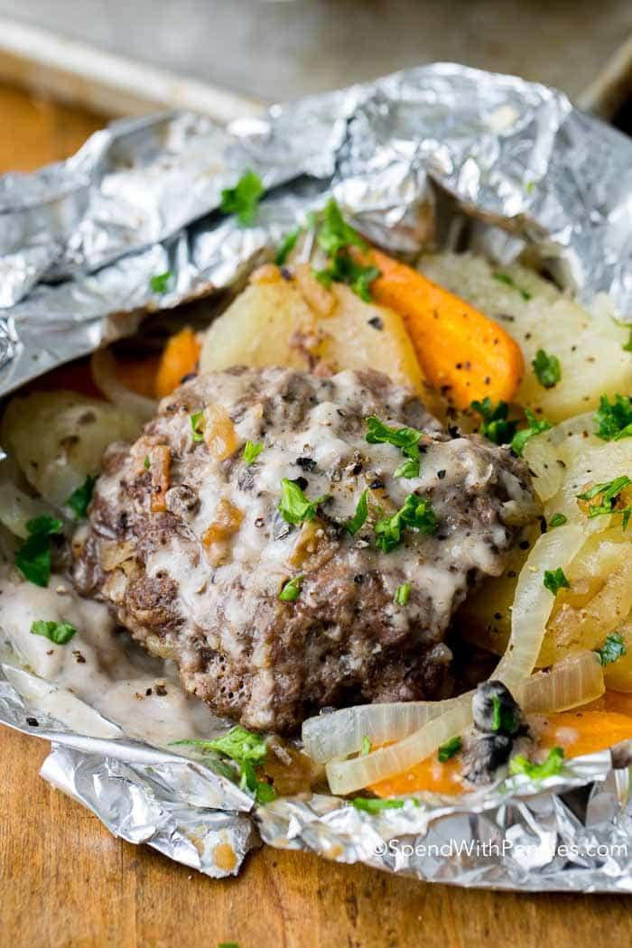 Hobo Dinner On Grill  Hobo Dinner Foil Packets Hamburger & Potato Spend With