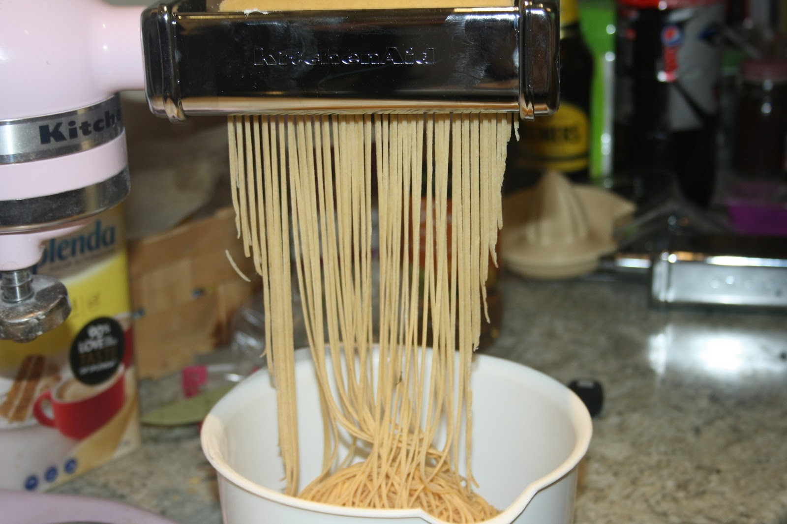 Homemade Pasta Kitchenaid  Caroline Makes Fresh Homemade Spaghetti with