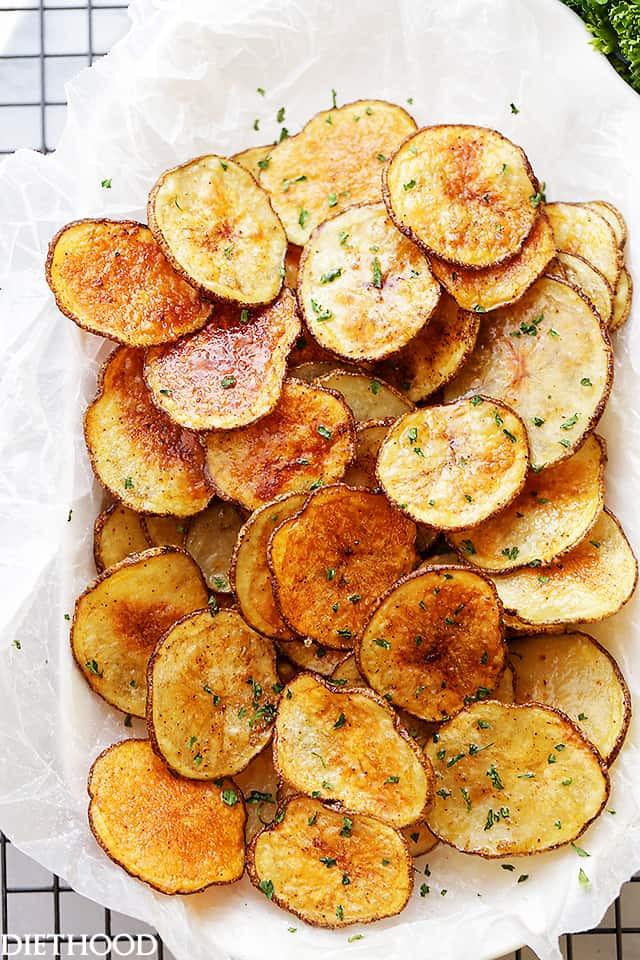 Homemade Potato Chips  Chili Lime Baked Potato Chips Recipe Diethood
