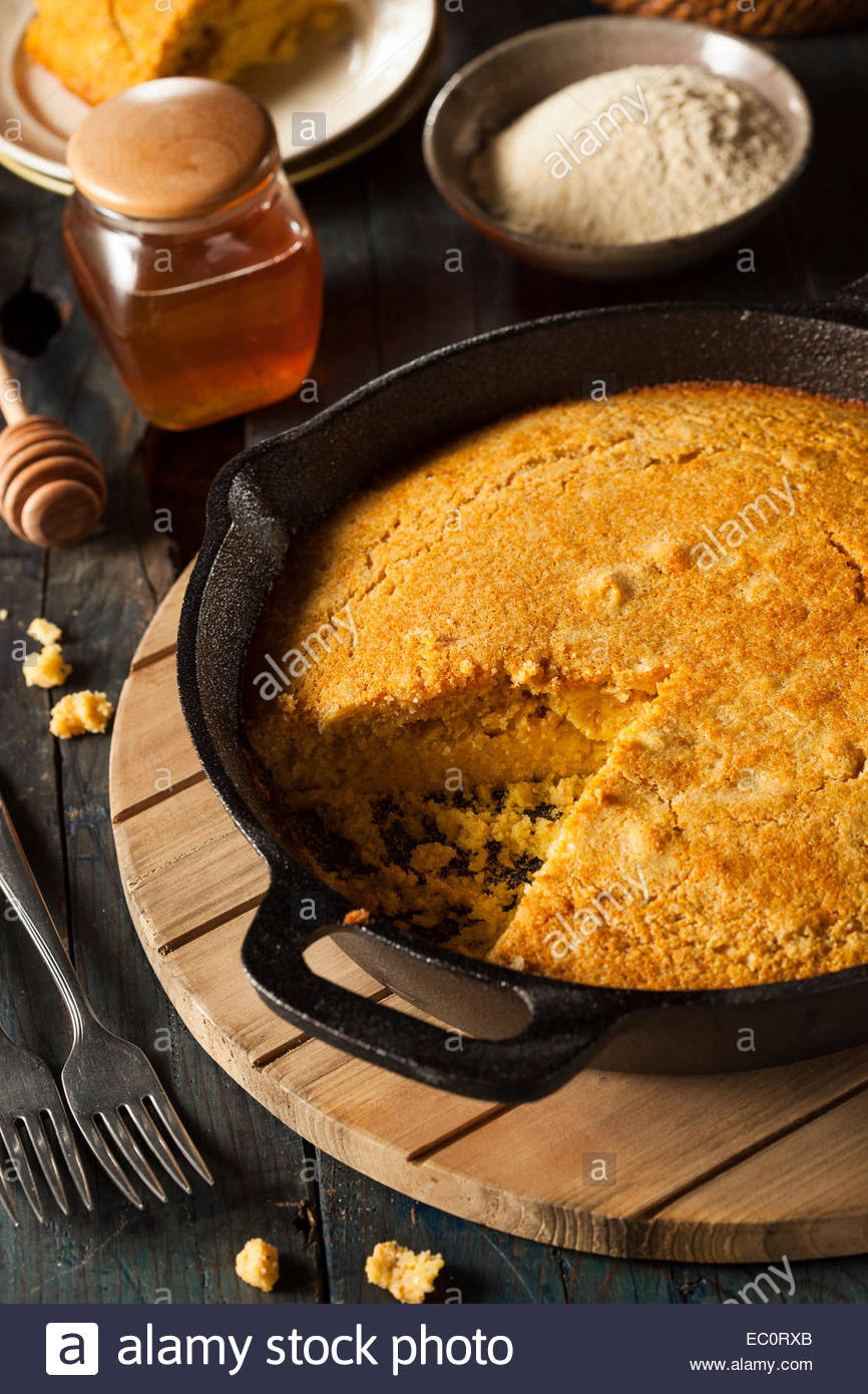 Homemade Southern Cornbread  Homemade Southern Style Cornbread in a Skillet Stock