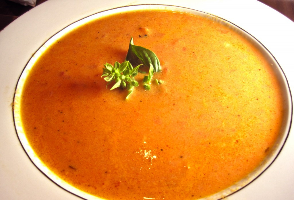 Homemade Tomato Basil Soup  Bowl of Homemade Tomato Soup with Basil Garnish