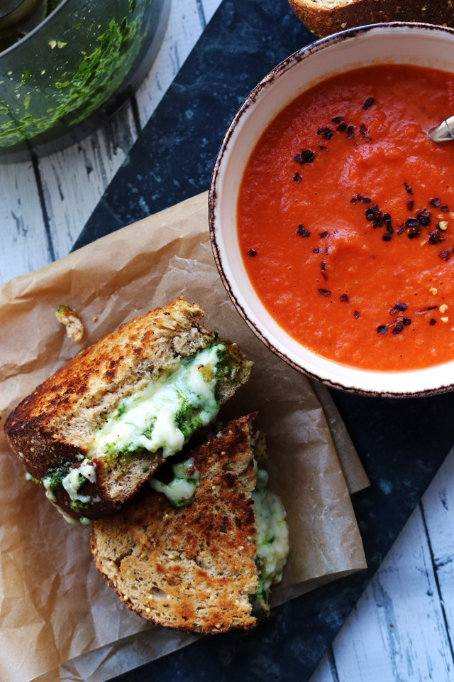 Homemade Tomato Basil Soup  Homemade Basil Pesto and Cheddar Grilled Cheese with