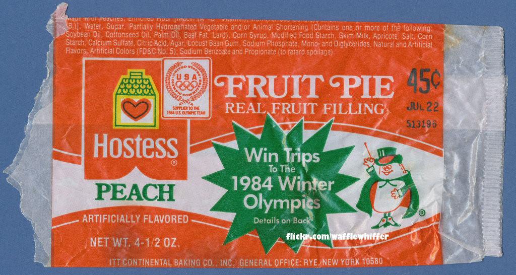 Hostess Fruit Pies  Hostess Fruit Pie Wrapper Peach 1983