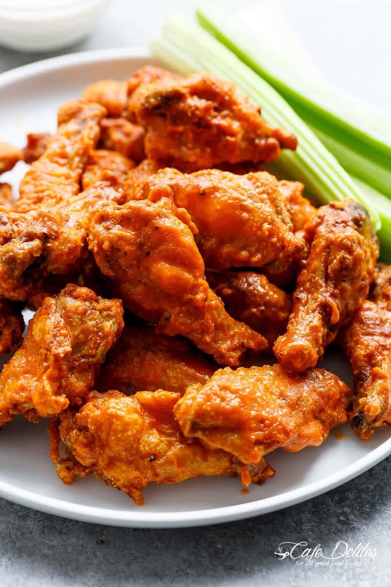 Hot Chicken Wings  Crispy Buffalo Chicken Wings BAKED Cafe Delites