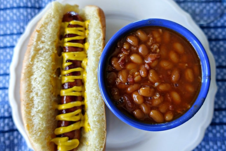 Hot Dogs And Beans  Sriracha Baked Beans