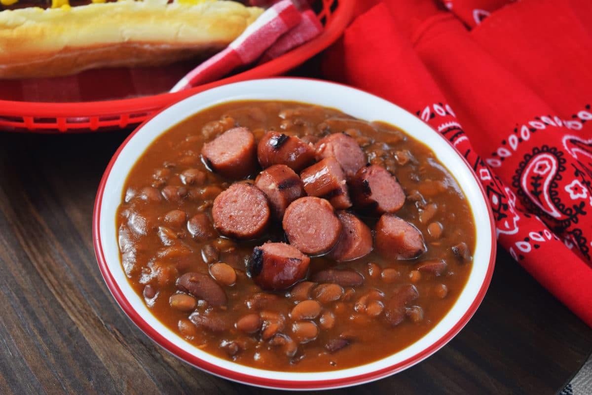 Hot Dogs And Beans  Hot Dog and Hamburger Cowboy Beans