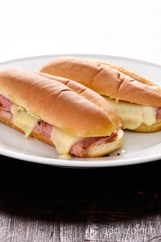 Hot Ham And Cheese Sandwiches  Hot Ham and Cheese Sandwiches Recipe Add a Pinch