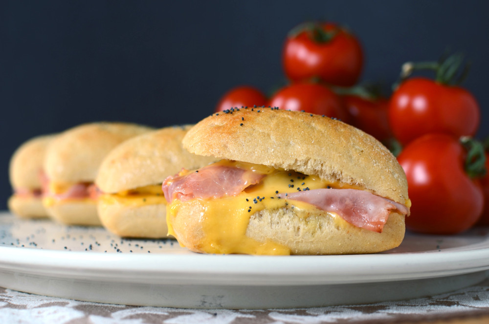 Hot Ham And Cheese Sandwiches  Hot Ham and Cheese Sandwiches with ion Butter — ButterYum